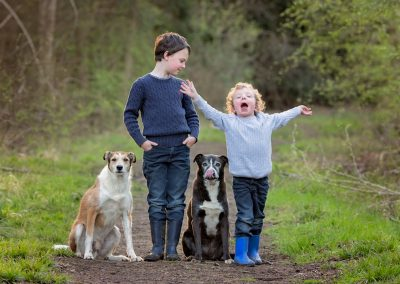 Two boys and their two dogs on pet photography session in Northampton